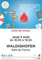 Affiche collecte de sang le 02 août 2018