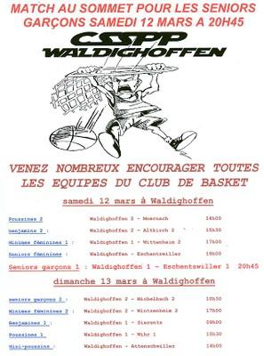 Affiche des rencontres de basket à Waldighoffen le samedi 12 mars.