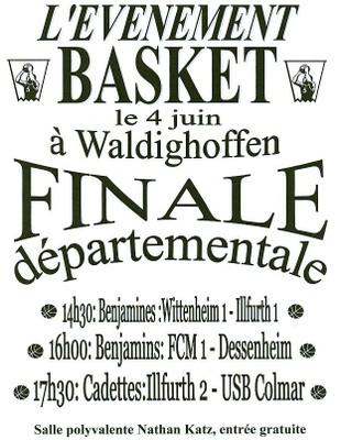 Affiche des finales départementales organisé par le basket-club CSSPP Waldighoffen le samedi 4 juin.