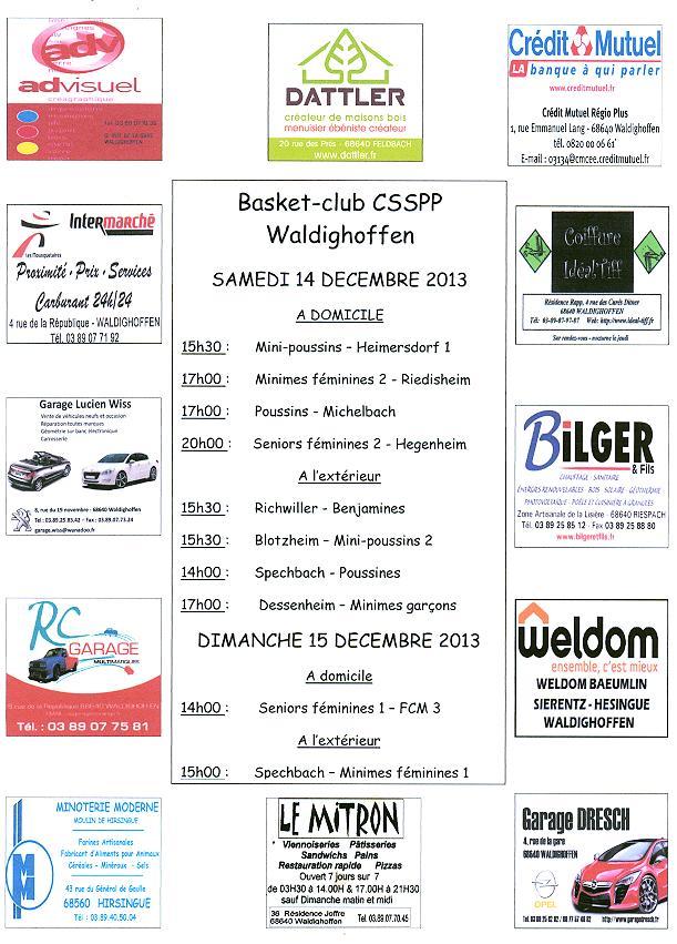 Affiche des rencontres de basket des 14 et 15 décembre 2013.