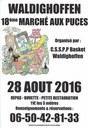 Affiche du 18ème marché aux puces de Waldighoffen le dimanche 28 Aout 2016.