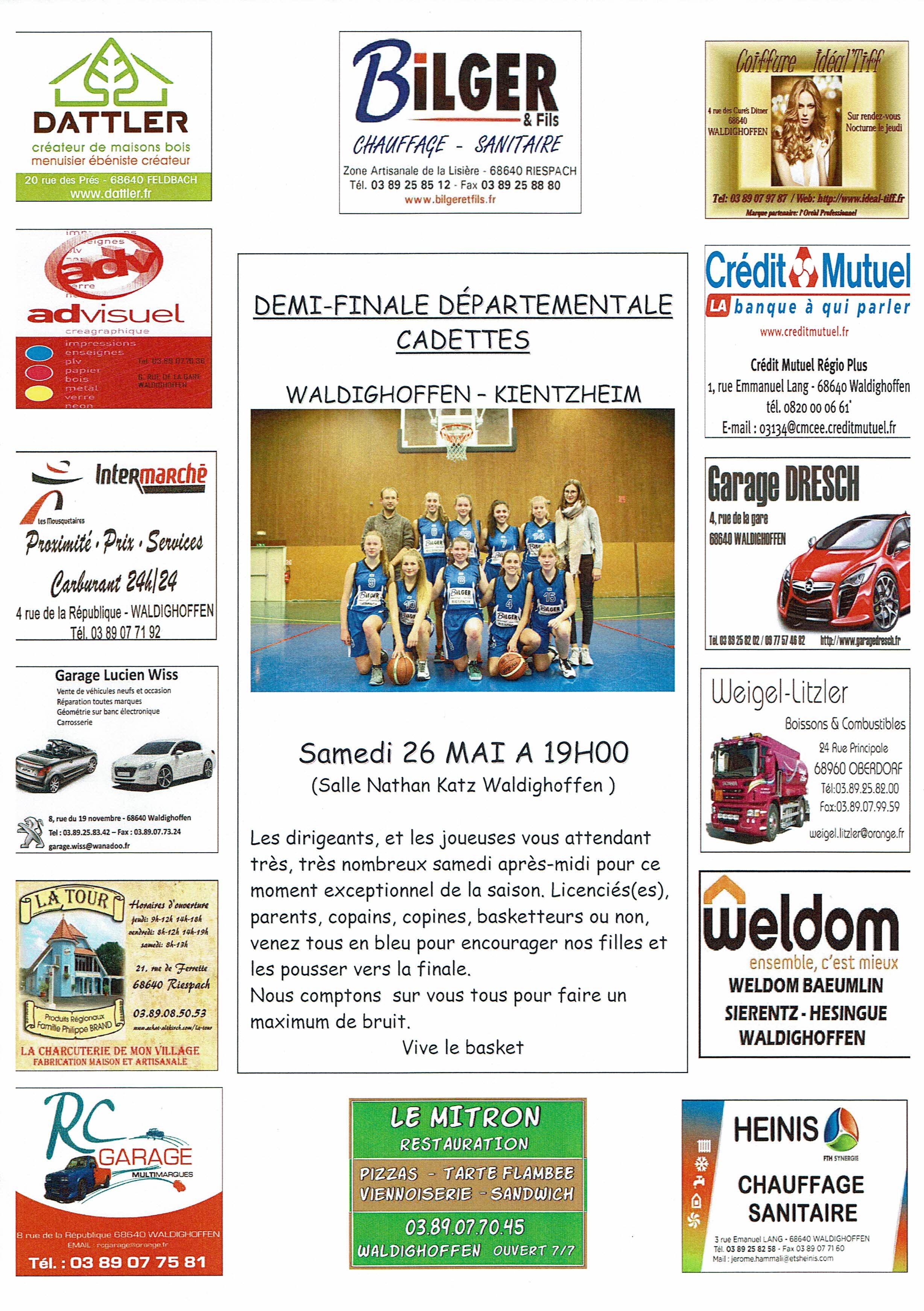 Affiche 1/2 finale cadettes du samedi 26 mai 2018.
