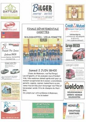 Affiche finale cadettes du samedi 2 juin 2018.
