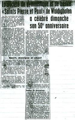 Le 19 Aout 1962 la société de gymnastique et de basket-balle a fèté dignement ses 50 ans.