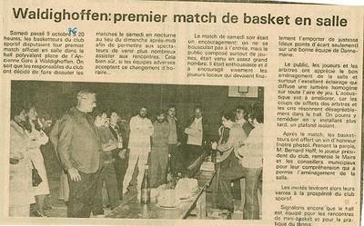 Article de presse concernant le premier match de basket en salle à Waldighoffen.