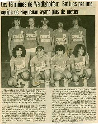 Article de presse concernant les seniors féminines de 1982.