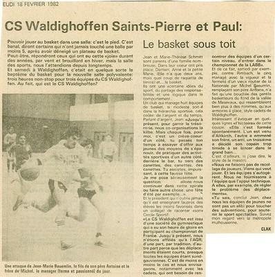 Article paru dans la presse locale salle polyvalente 1982