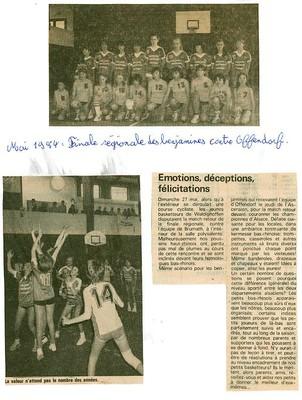 Finale régionale benjamines saison 83/84.