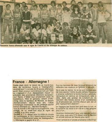 Rencontre Franco-Allemande en Juin 1984.