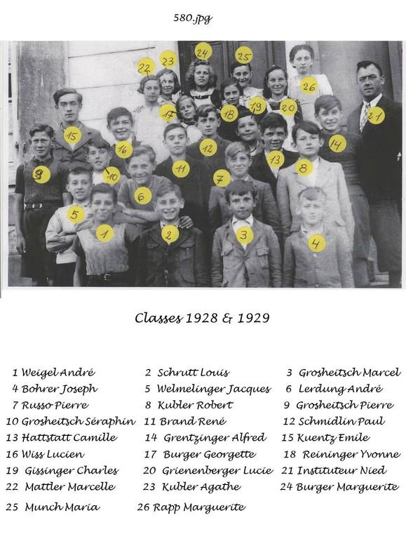 classe 1928 et 1929 avec les noms
