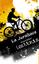 Un cycliste en ombre sur fond jaune et orange.