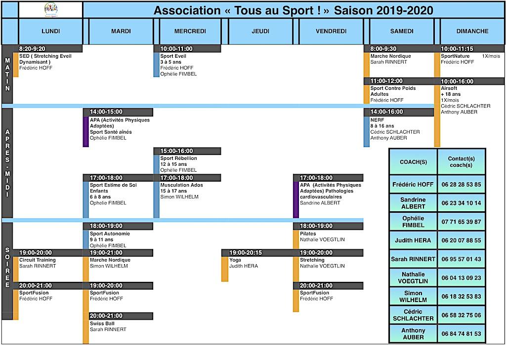Planning cours collectifs Association Tous au Sport 2019-2020