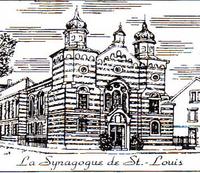 Pictogramme en noir et blanc de la synagogue de Saint Louis