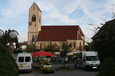 Vue de la mairie du marché de Waldighoffen