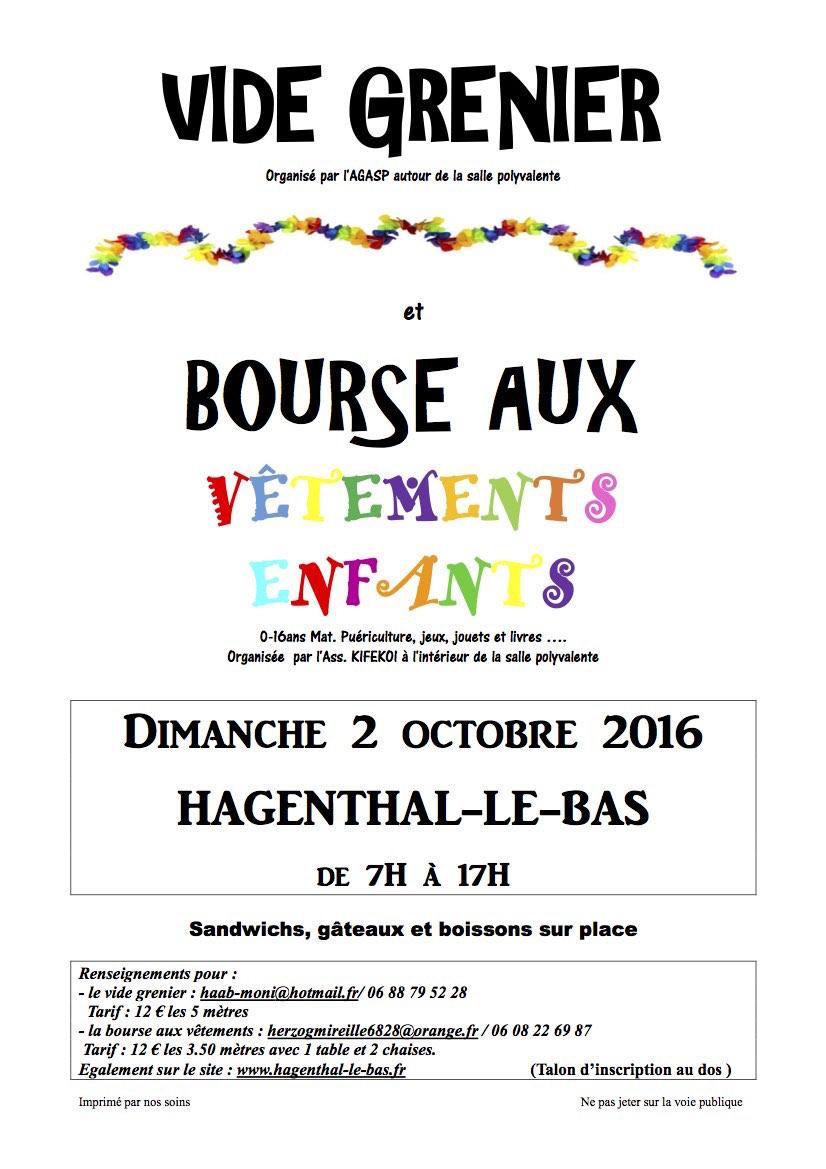 Flyer Vide Grenier Hagenthal le bas 2 octobre 2016