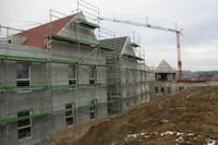 Les échafaudages du chantier de l'EHPAD, le 24 janvier 2011