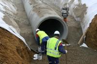 La mise en place du bassin de rétention des eaux pluviales de l'EHPAD, le 24 janvier 2011