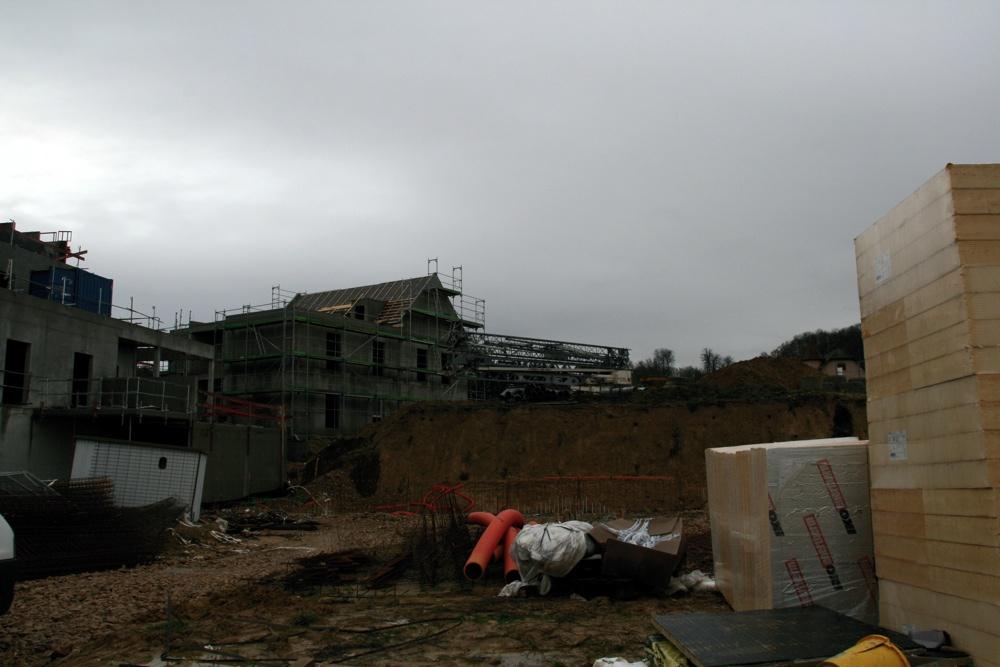 Vue de près des travaux de l'EHPAD de Waldighoffen, le 13 janvier 2011