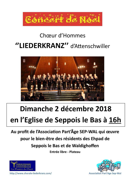 Concert de Noël Liederkranz 2 decembre 2018