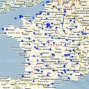 Cartographie des mesures de radioactivité de l'air en France