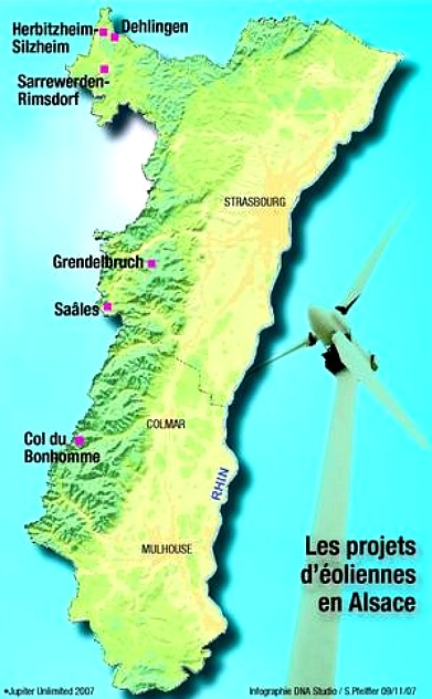 Carte de projets éoliens Alsaciens