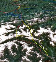 Vue satellitaire du trajet du tunnel
