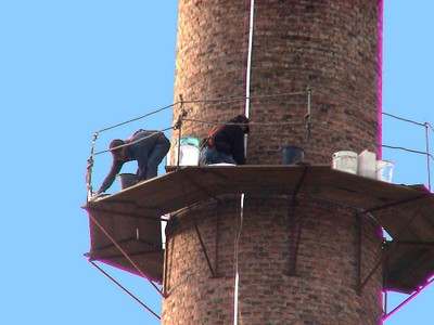 Réfection de la cheminée de l'usine Lang en 2006